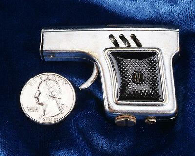 """Japanese Early Mioj Small """"pistol Lighter' Chrome Over Brass W Checkered Grips."""