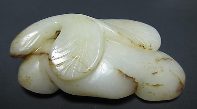 Estate  Antique Japanese White Mutton FAT Jade Floral Carving