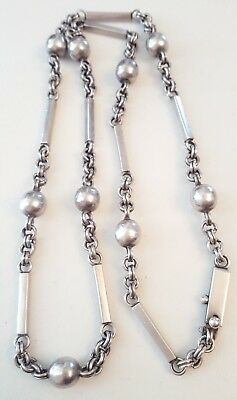 """Vintage 1920's Designer Sterling Silver Bench Bead Bar And Chain Necklace 30.5"""""""