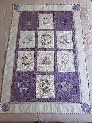 Hand made Patchwork Quilt. 100% Cotton 94cm x 140cm. Lace/embroidery & stippling