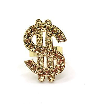3x Dollar Sign Ring Hip Hop Costume Accessories Money Sign Ring Bling