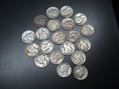 (20) LOT 1916-1945 MERCURY DIMES, $2.00 FACE mix dates 90% SILVER #AA106
