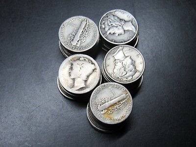(50) LOT 1916-1945 MERCURY DIMES, $5.00 FACE mix dates 90% SILVER #AA107
