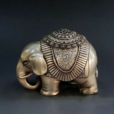 Marked Chinese Fengshui Pure Silver Animal Elephant Statue Incense Burner Censer