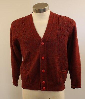 SMALL, ORIGIAL VINTAGE, 1960s WOOL, RED, MENS CARDIGAN.