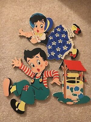 Vintage Cardboard Wall Hangings - Mother Goose 1950 | Jack and Jill - 3 Pcs