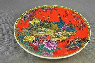 Collectible Handwork Porcelain Paint Wonderful Phoenix Flower Auspicious Plates