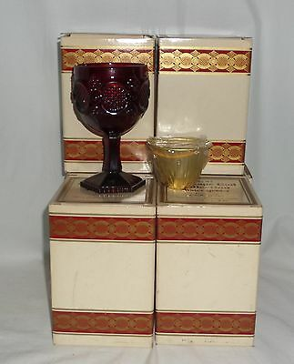 "6 Avon CAPE COD RED *6"" WATER GOBLETS w/CANDLE & BOX*"