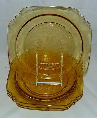 "4 Federal MADRID AMBER *8 7/8"" LUNCHEON PLATES*"