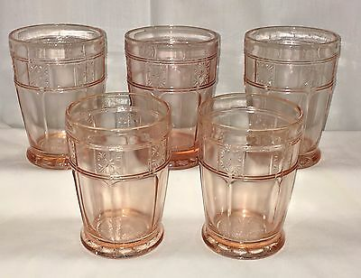 "5 Jeannette DORIC PINK *4""- 10 oz FOOTED WATER TUMBLERS*"