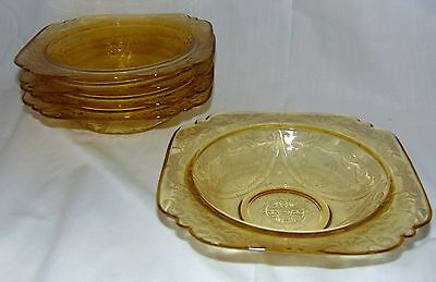 "5 Federal MADRID AMBER * 7"" SOUP BOWLS* 3/4"" RIM* STYLE 1**"