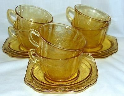 6 Federal MADRID AMBER *CUPS & SAUCERS*