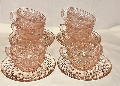 6 Jeannette HOLIDAY PINK *CUPS & SAUCERS* RAYED CENTERS*