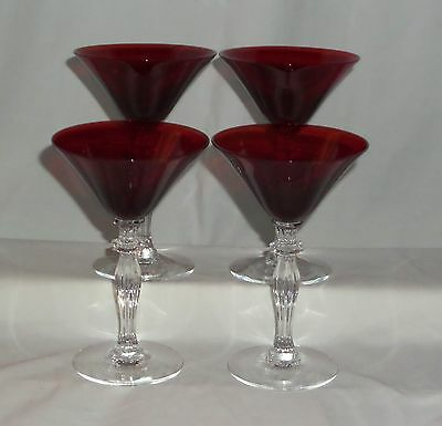 "4 Morgantown MONROE #7690 SPANISH RED *5 1/4"" COCKTAIL GOBLETS*"
