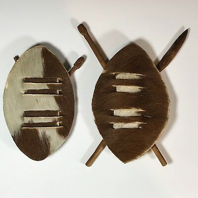 Antique African Tribal Shield Miniature Collectables - Cow Hide & Wood Treen