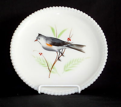 "Westmoreland BEADED EDGE BIRDS TITMOUSE *7 1/4"" SALAD PLATE*BE-17"