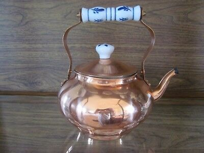 Vintage Copper Teapot with Blue and White Ceramic Flower Handle and Lid Top