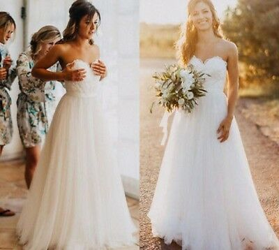 Sweetheart neckline strapless wedding dress with tulle