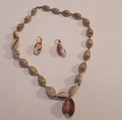 Vintage Handmade Wired Cowrie Shell Necklace Boho Pacific Islands + Earrings
