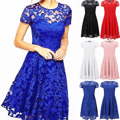 Womens Short Sleeve Lace Dress Formal Evening Party Cocktail Bridesmaids Dresses