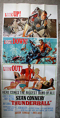 Thunderball Original 1965 James Bond 007 Tri-Folded Three-Sheet *unused*