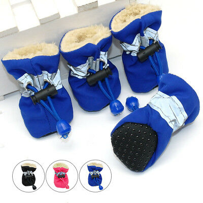 4pcs Waterproof Pet Dog Shoes Non-slip Reflective Boots Soft Fleece Lined Socks