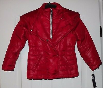NWT GIRLS TOMMY HILFIGER Apple Red Puffer Jacket /Coat Hooded Size 5/6 MSRP $95
