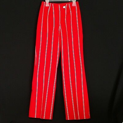 Vintage Regal By Amerex Womens Red White Striped 100% Cotton Pants Japan Size 10
