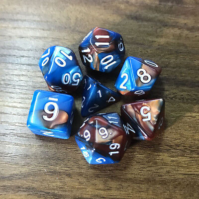 7pcs/Set TRPG Game Dungeons & Dragons Polyhedral D4-D20 Multi Sided Dices Coffee