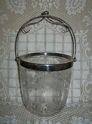 BEAUTIFUL ANTIQUE ETCHED / FROSTED GLASS ICE BUCKET with silver plated? handle
