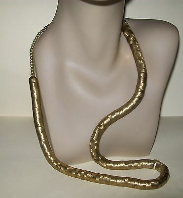 VINTAGE LONG CHUNKY BRASS RING NECKLACE - unique !!