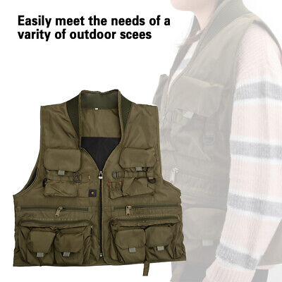 Fly Fishing Jacket Mesh Fly Vest Breathable Mutil-Pocket Outdoor XXL/XL/L Size
