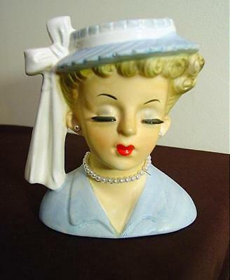 Napco Lady Head Vase Lucille Ball 1956 W/ Light Blue Dress & Hat 5 1/4""
