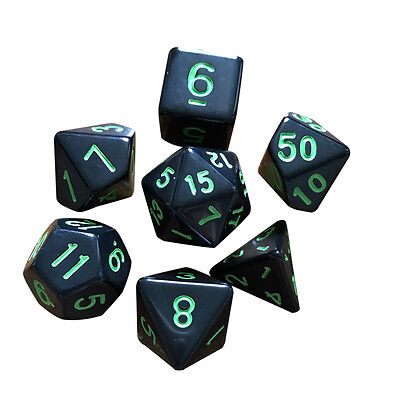7x Multi-sided Game Dungeons & Dragons Polyhedral Acrylic Dice Set Nickel Green