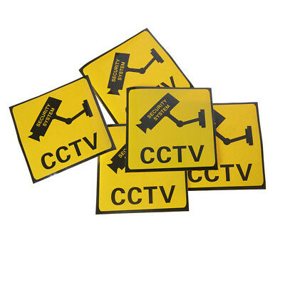 5pcs CCTV Security System Camera Sign Waterproof Decals Warning Stickers