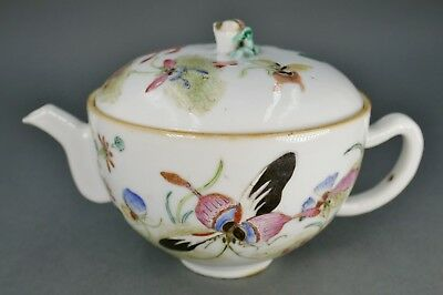 Fine Antique Chinese Famille Rose Porcelain Butterfly Lidded Teapot