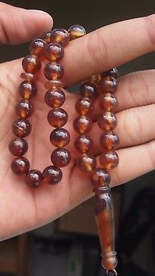 21 gram 33 Round beads 10 mm Tasbih Indonesian Yellow Red Amber