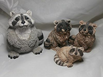 FOUR CUTE STONE CRITTERS RACCOON FIGURINES 1980s UNITED DESIGN CORP USA