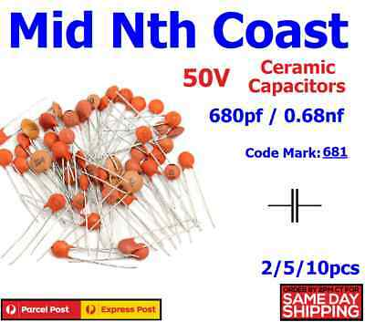 2/5/10pc 680pf - 0.68nf (Code # 681) 50V Low Voltage Ceramic Disc Capacitors