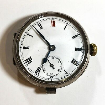 Antique Ww1 Solid Silver Trench Watch Wristwatch Officers Working Keeping Time