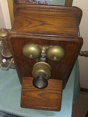Antique British PMG Oak cased wall phone with handle