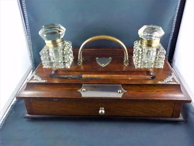 Victorian Wooden writing desk stand with 2 x cut glass inkwells 2 x ink tip pens