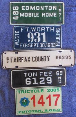 5 x SMALL LICENSE NUMBER PLATES