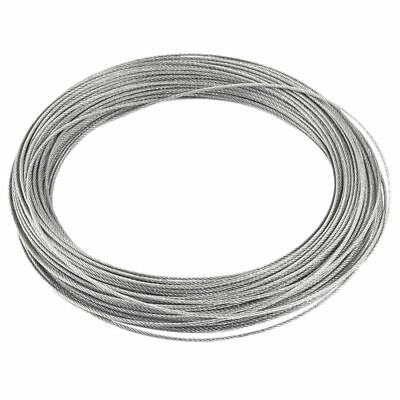 Binding 7x7 1.2mm Dia 25M Long Stainless Steel Flexible Wire Rope Gray X2A8