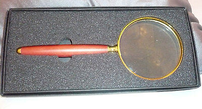 "In box Magnifier Magnifying Glass with wood handle 7"" in length"