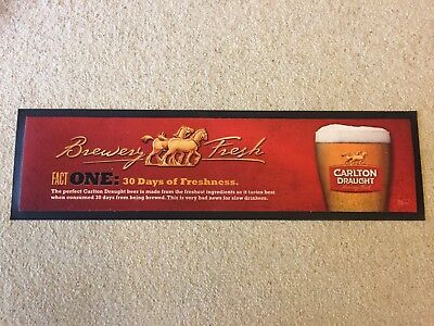 Carlton Draught Bar Mat Runner Beer Home Brew Pub Collectable