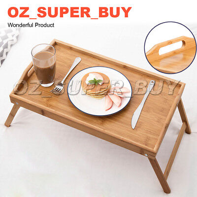 BAMBOO WOOD BED TRAY Tea Serving Table Breakfast Laptop Desk Stand Dinner
