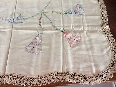 Beautiful Vintage High Quality LINEN Tablecloth TO EMBROIDER Cotton LACE Edging