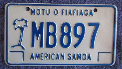 American Samoa Motorcycle License Number Plate # Mb 897