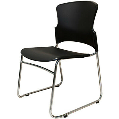 Rapid Zing Link Chair With Chrome Sled Base Poly Seat And Black Back